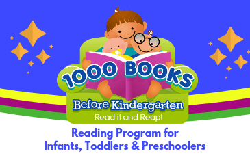 1000 Books Before Kindergarten. Read it and Reap! A smiling family sitting in a big green armchair. The parent reads a book to a toddler and an older child. The toddler has a pacifier and the child is wearing glasses.