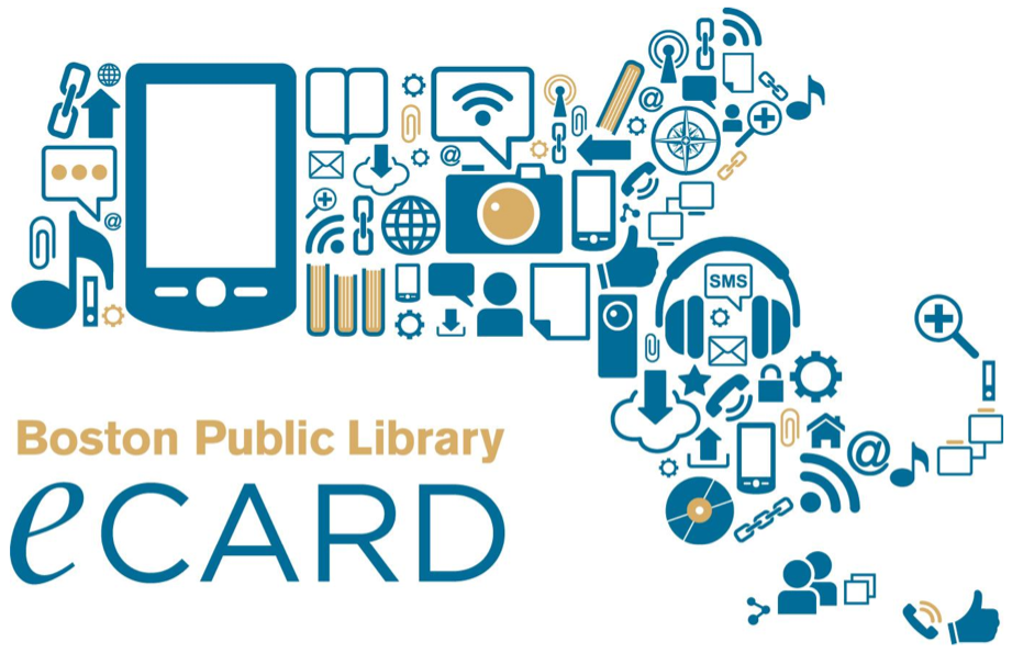 Boston Public Library eCard. Symbols for all manner of media and digital devices are arranged in the shape of the state of Massachusetts. Devices represented include: tablet, camera, phone, headphones, records, documents, iPod, and books.