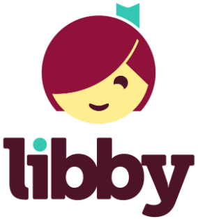 Libby App Icon. A stylized graphic of a girl's smiling face. She wears a teal ribbon in her brown hair.