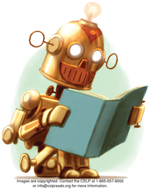 A smiling copper robot with glowing eyes sits reading a book. He has antennae for ears and a light bulb on top of his head.