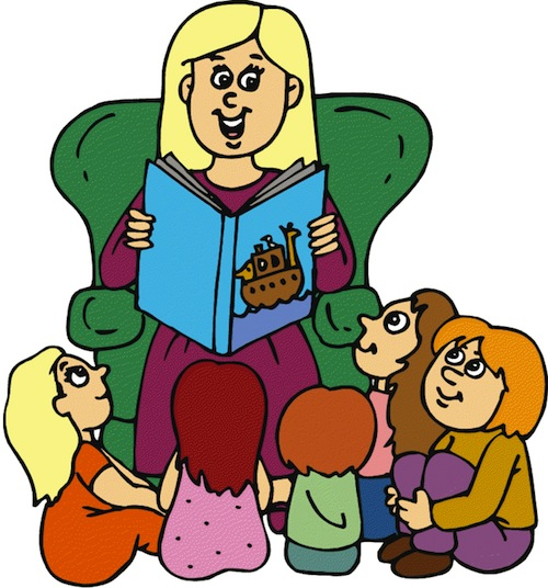 A librarian sitting in a green chair reads to a group of children. The children sit on the floor listening. The book cover shows an arc with animals on board, floating in a sea.