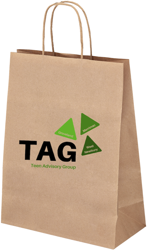 Brown paper bag with curved wrapped paper handles. The bag displays the text TAG Teen Advisory Group. Also shown are the three towns offering Teen Advisory Group: Groveland, Merrimac, and West Newbury. The town names are in three triangles, colored from light to dark green.