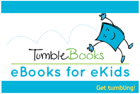 Tumble Books. eBooks for eKids. Get tumbling! A smiling purple book cartoon performs somersaults with arms and legs outstretched.