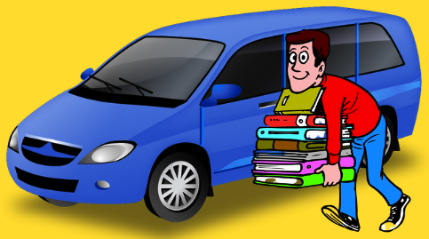 Curbside pickup. A smiling patron carries a tall stack of books to his blue van. The patron wears a red shirt, blue jeans, and sneakers.
