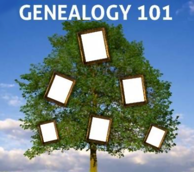 Genealogy 101. Empty picture frames hang a in tree full of green leaves. A blue sky with clouds is in the background.