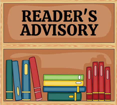 Reader's Advisory. Books collected on a wooden shelf. Some books are standing upright, others are stacked flat.