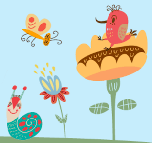 Playful illustration of an orange butterfly, a red bird, and a smiling green snail. The bird sits on a large tan flower.