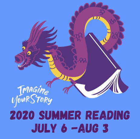Imagine Your Story. 2020 Summer Reading. July 6 – August 3. A smiling purple and yellow dragon emerges from a book.